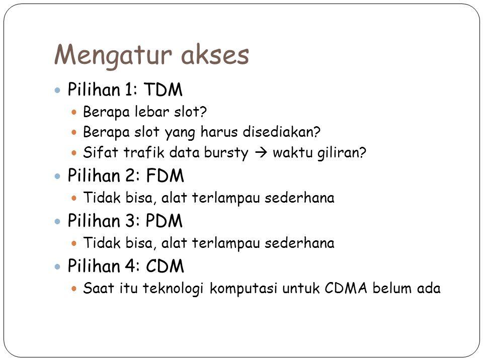 Mengatur akses Pilihan 1: TDM Pilihan 2: FDM Pilihan 3: PDM