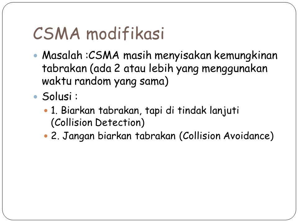 CSMA modifikasi Masalah :CSMA masih menyisakan kemungkinan tabrakan (ada 2 atau lebih yang menggunakan waktu random yang sama)