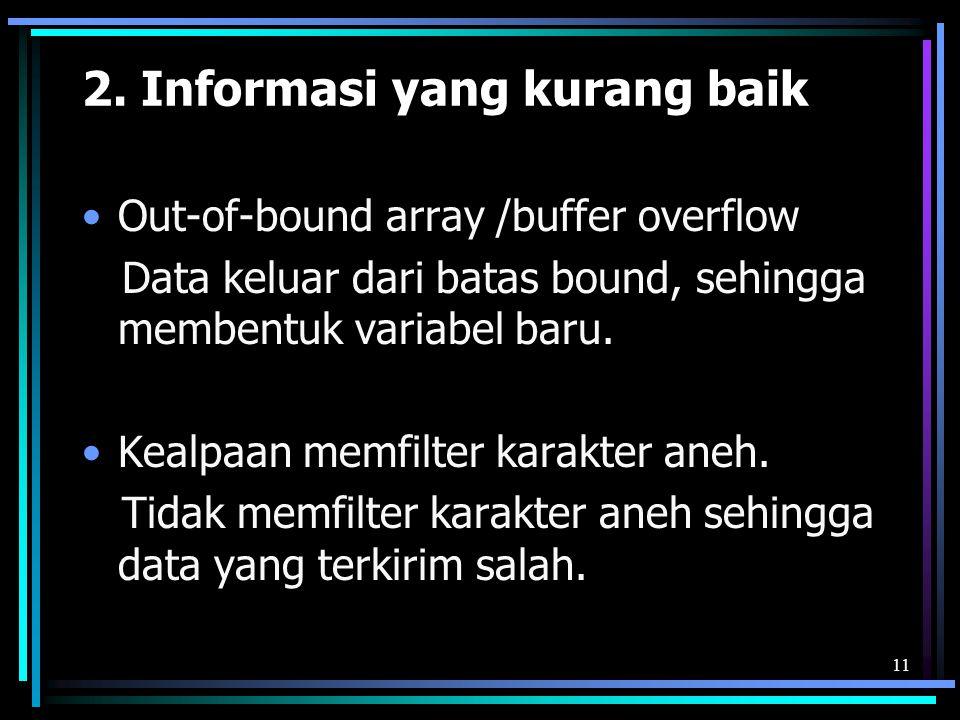 2. Informasi yang kurang baik