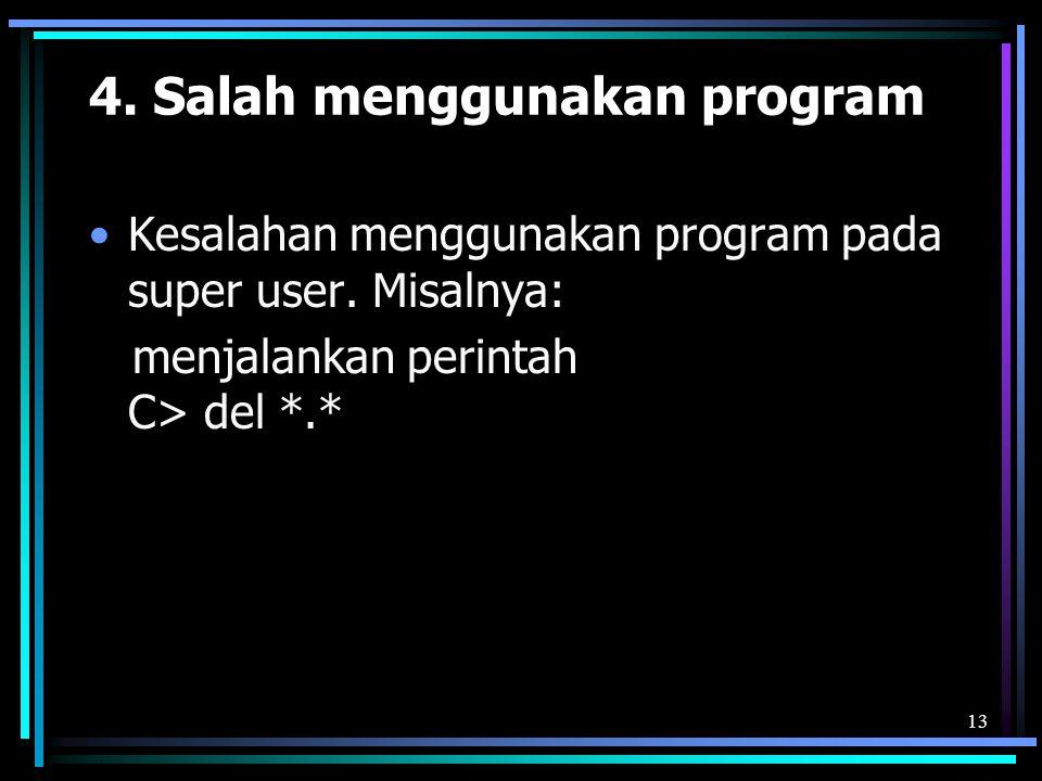 4. Salah menggunakan program