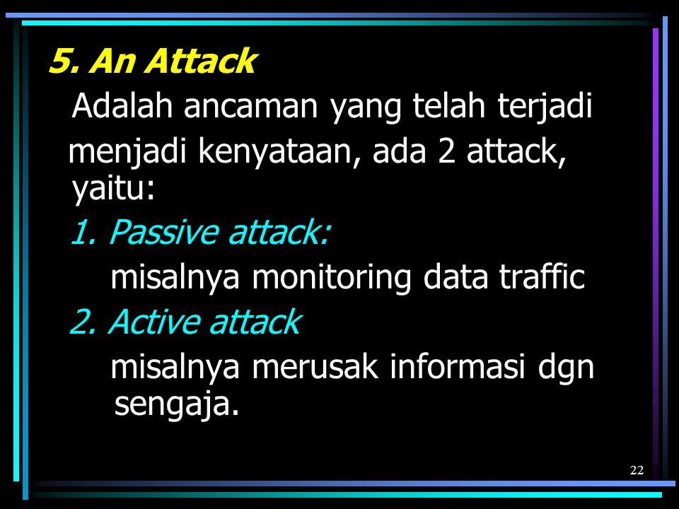 5. An Attack Adalah ancaman yang telah terjadi. menjadi kenyataan, ada 2 attack, yaitu: 1. Passive attack: