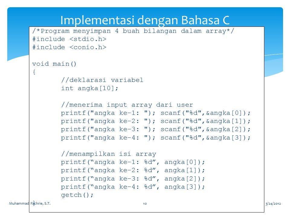 Implementasi dengan Bahasa C