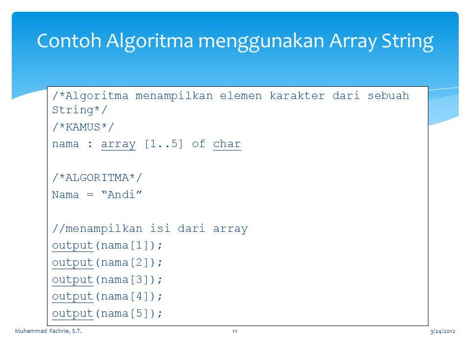 Contoh Algoritma menggunakan Array String