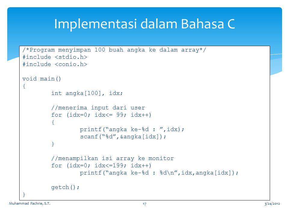 Implementasi dalam Bahasa C