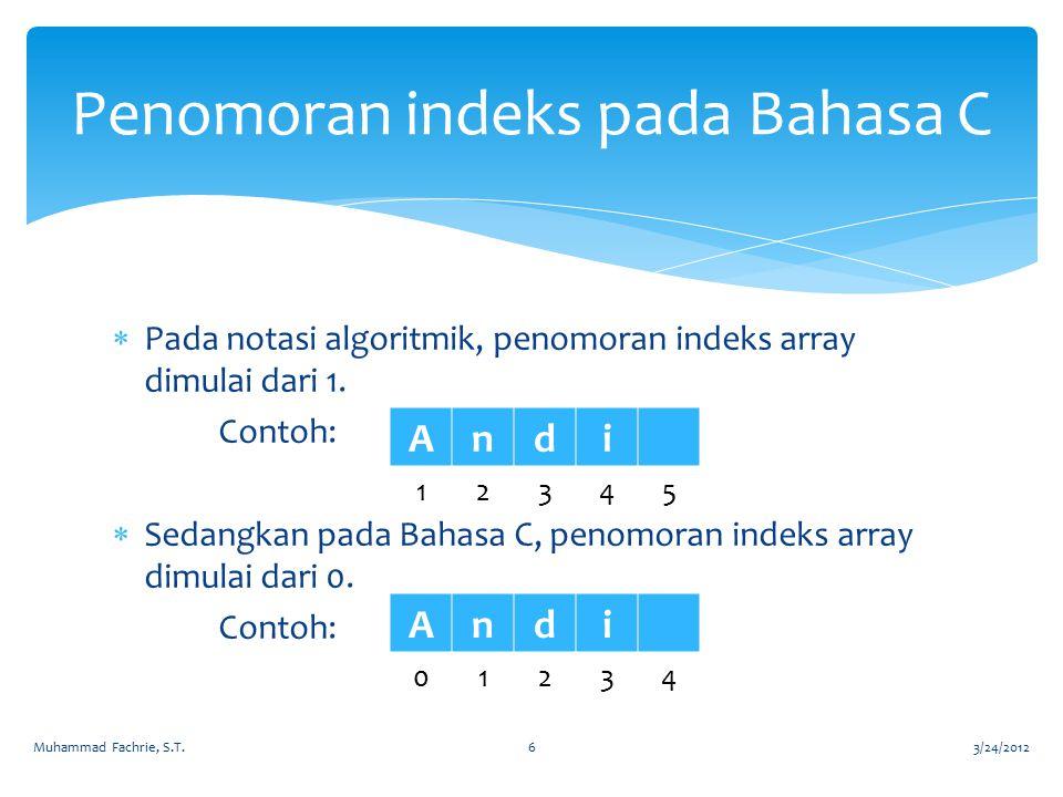 Penomoran indeks pada Bahasa C