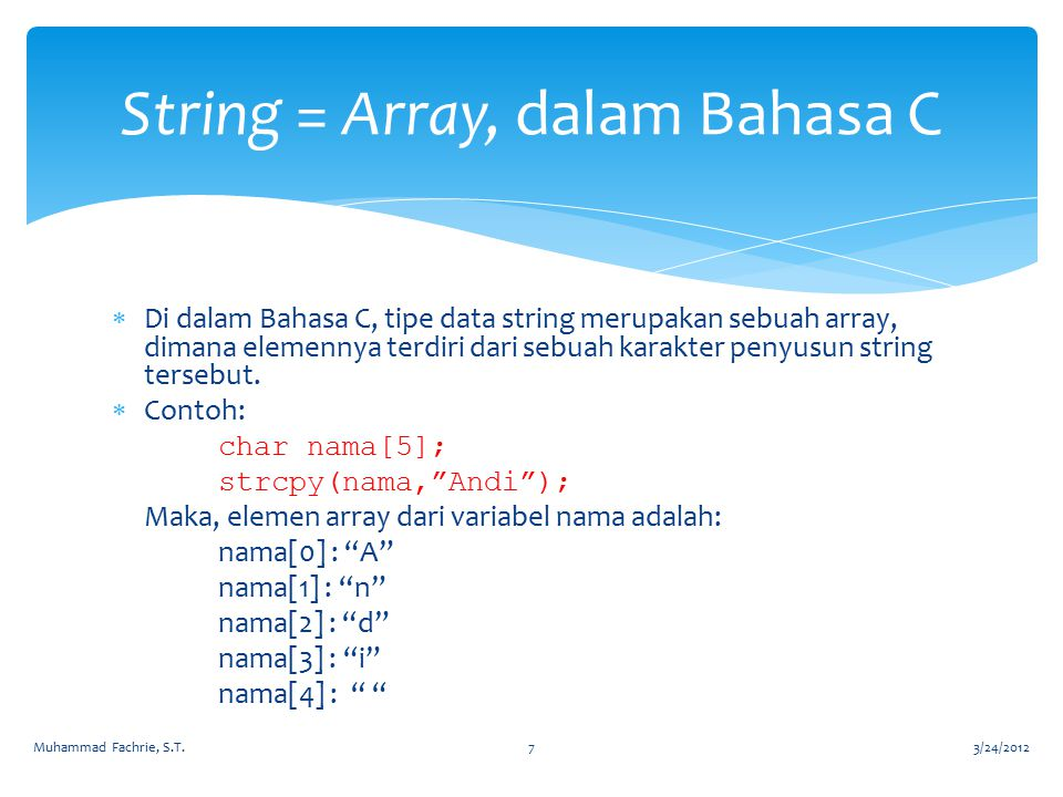 String = Array, dalam Bahasa C
