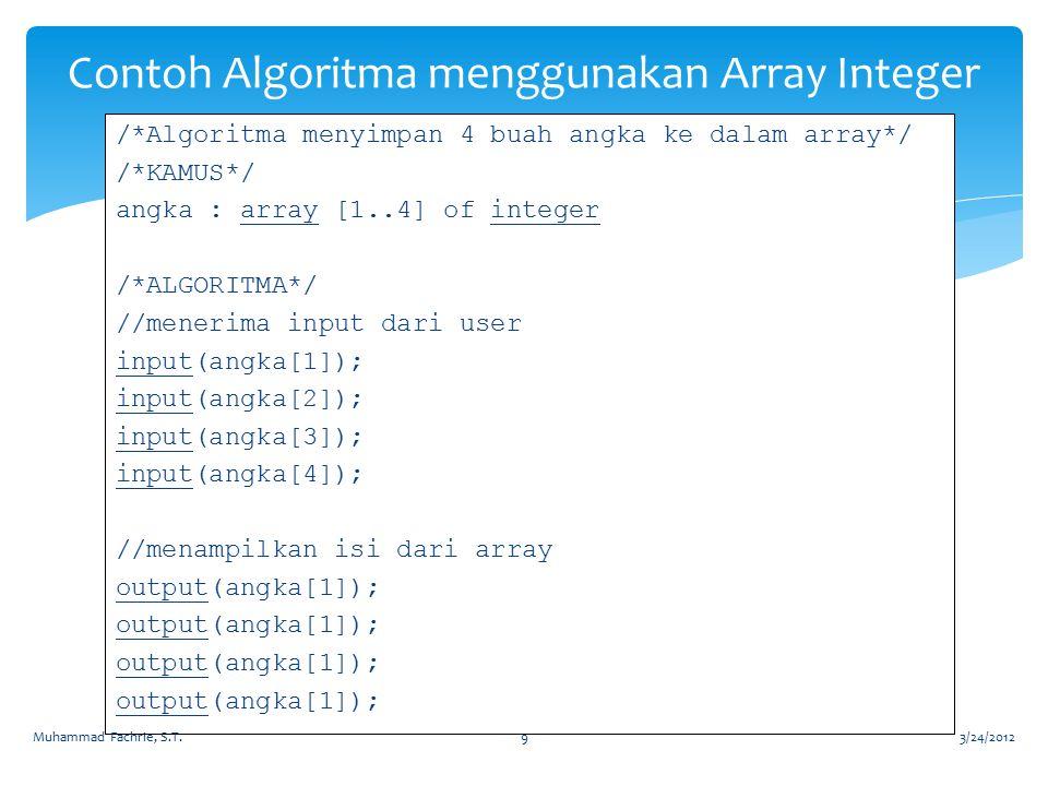 Contoh Algoritma menggunakan Array Integer