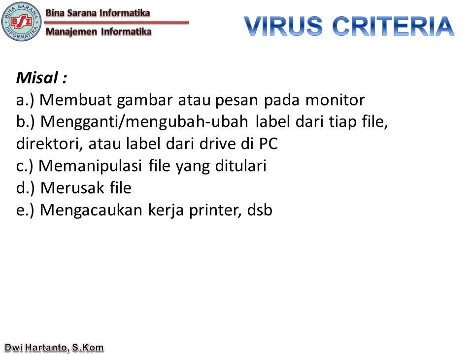 VIRUS CRITERIA Misal : a.) Membuat gambar atau pesan pada monitor