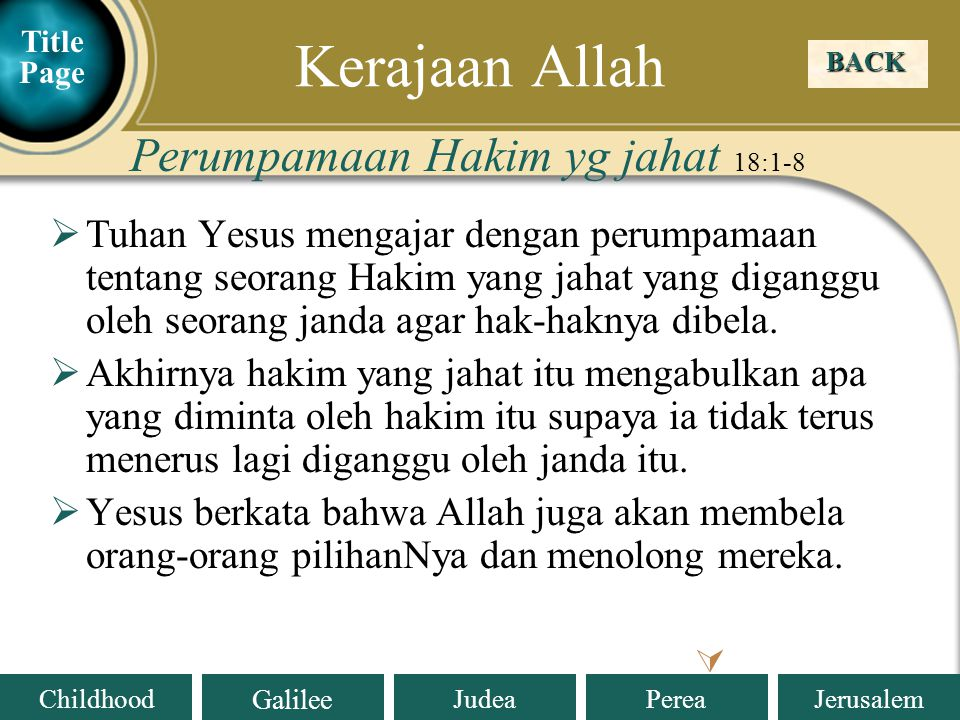 Kerajaan Allah Perumpamaan Hakim yg jahat 18:1-8