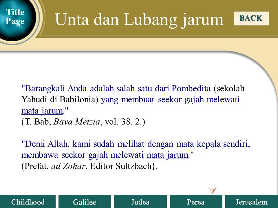 Unta dan Lubang jarum  Title Page