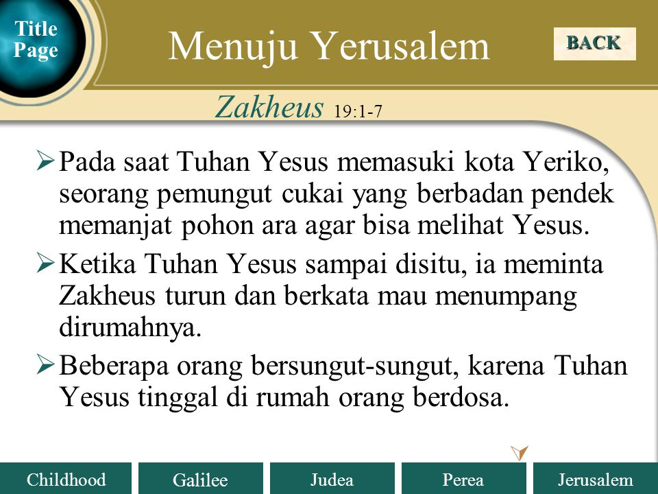 Menuju Yerusalem Zakheus 19:1-7