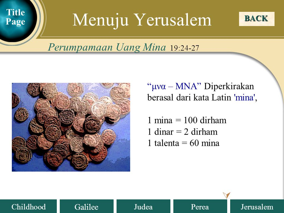 Menuju Yerusalem Perumpamaan Uang Mina 19:24-27  Title Page