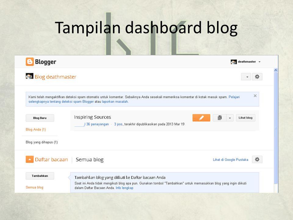 Tampilan dashboard blog