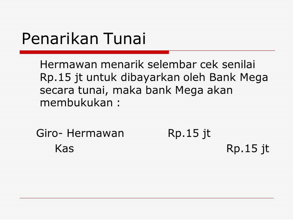 Penarikan Tunai Hermawan menarik selembar cek senilai Rp.15 jt untuk dibayarkan oleh Bank Mega secara tunai, maka bank Mega akan membukukan :