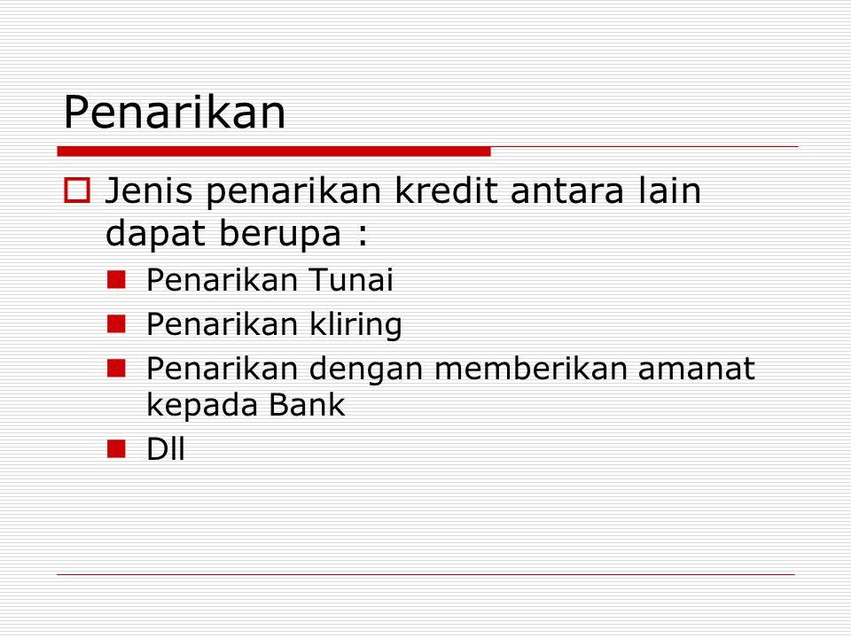 Penarikan Jenis penarikan kredit antara lain dapat berupa :
