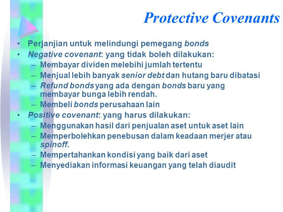 Protective Covenants Perjanjian untuk melindungi pemegang bonds