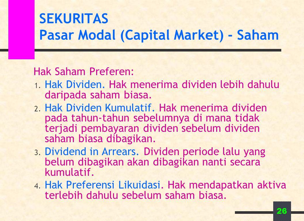 SEKURITAS Pasar Modal (Capital Market) - Saham