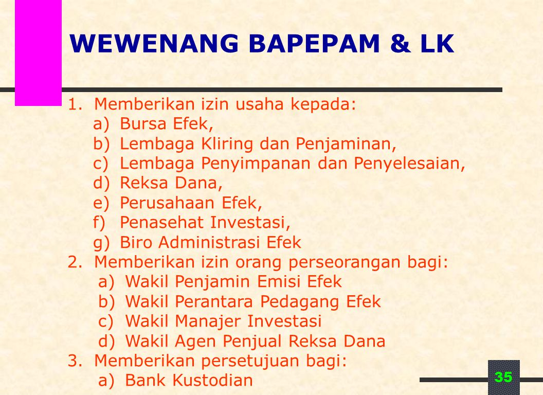 WEWENANG BAPEPAM & LK Memberikan izin usaha kepada: Bursa Efek,