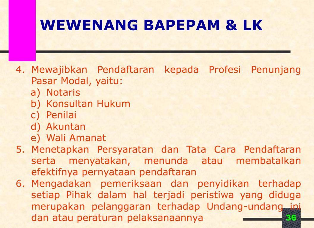 WEWENANG BAPEPAM & LK Mewajibkan Pendaftaran kepada Profesi Penunjang Pasar Modal, yaitu: Notaris.
