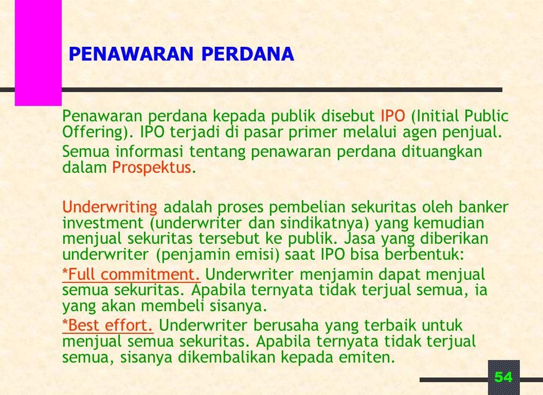 PENAWARAN PERDANA Penawaran perdana kepada publik disebut IPO (Initial Public Offering). IPO terjadi di pasar primer melalui agen penjual.