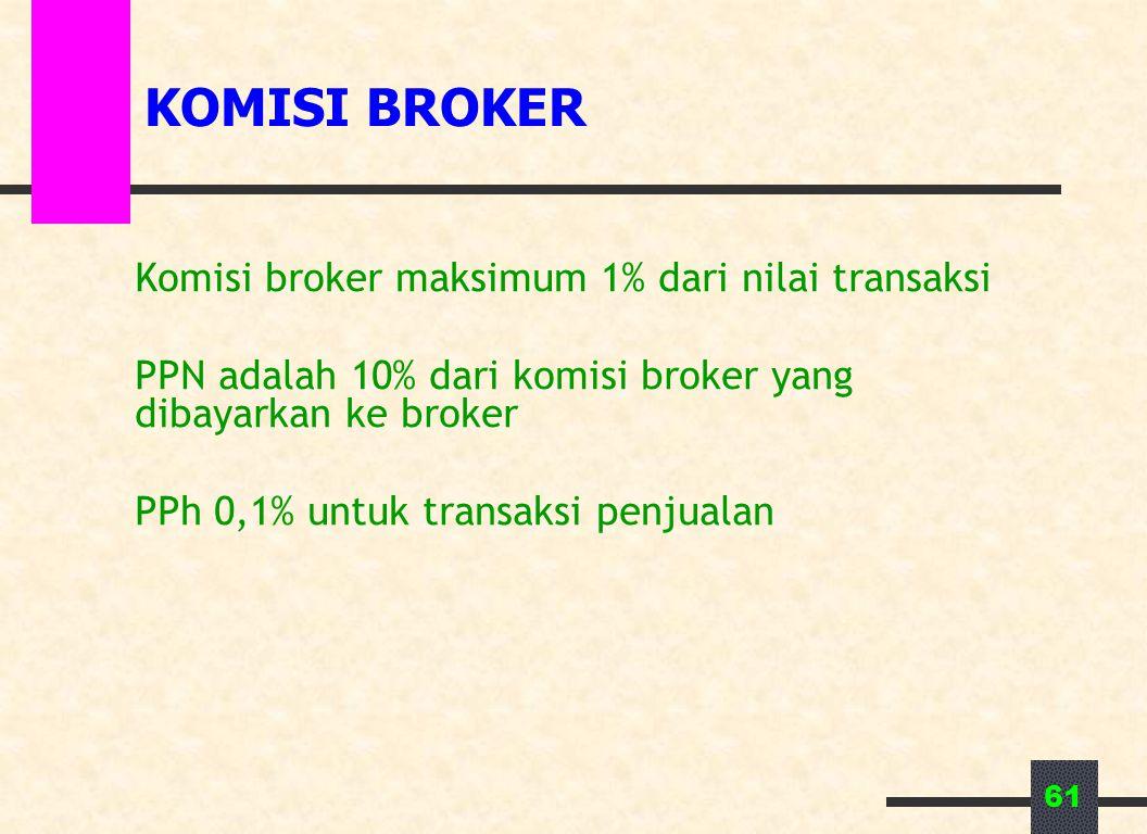 KOMISI BROKER Komisi broker maksimum 1% dari nilai transaksi