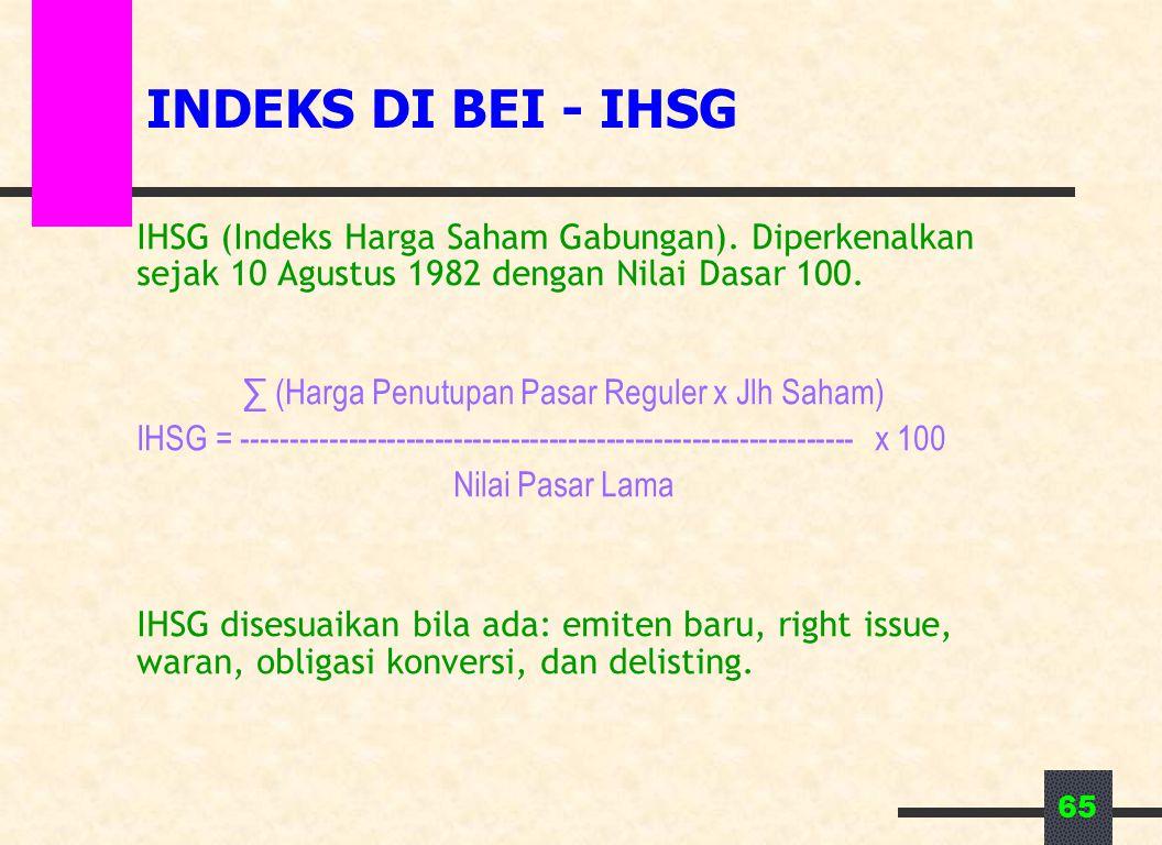 INDEKS DI BEI - IHSG IHSG (Indeks Harga Saham Gabungan). Diperkenalkan sejak 10 Agustus 1982 dengan Nilai Dasar 100.