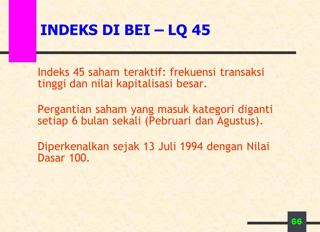 INDEKS DI BEI – LQ 45 Indeks 45 saham teraktif: frekuensi transaksi tinggi dan nilai kapitalisasi besar.