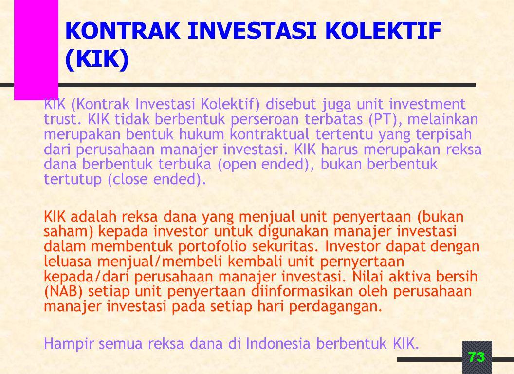 KONTRAK INVESTASI KOLEKTIF (KIK)