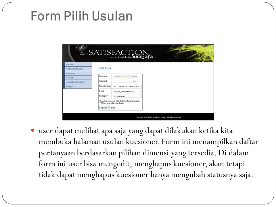 Form Pilih Usulan