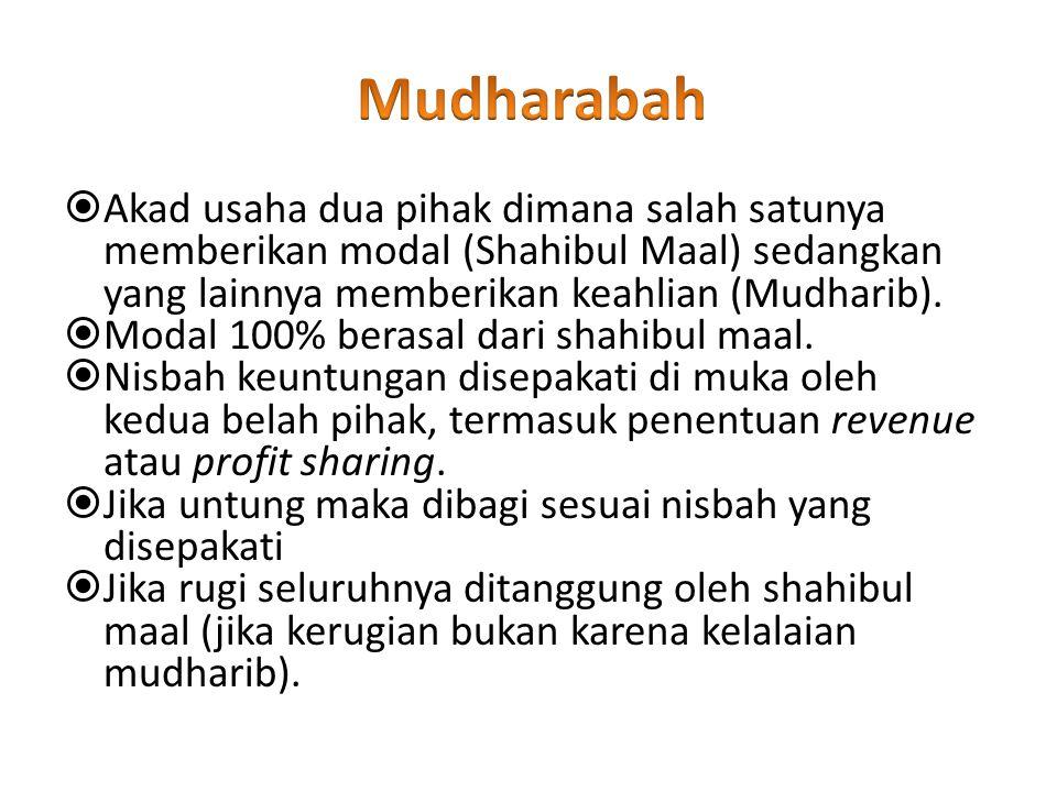 Mudharabah Akad usaha dua pihak dimana salah satunya memberikan modal (Shahibul Maal) sedangkan yang lainnya memberikan keahlian (Mudharib).
