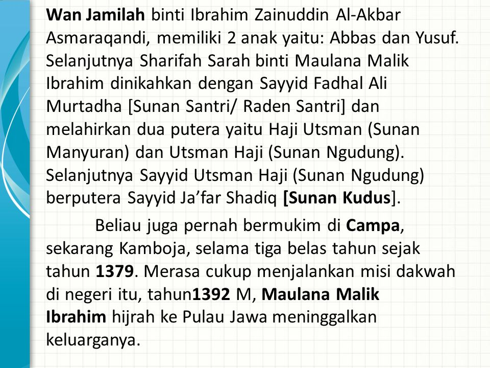 Wan Jamilah binti Ibrahim Zainuddin Al-Akbar Asmaraqandi, memiliki 2 anak yaitu: Abbas dan Yusuf.