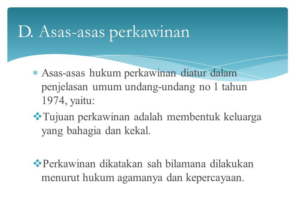 D. Asas-asas perkawinan