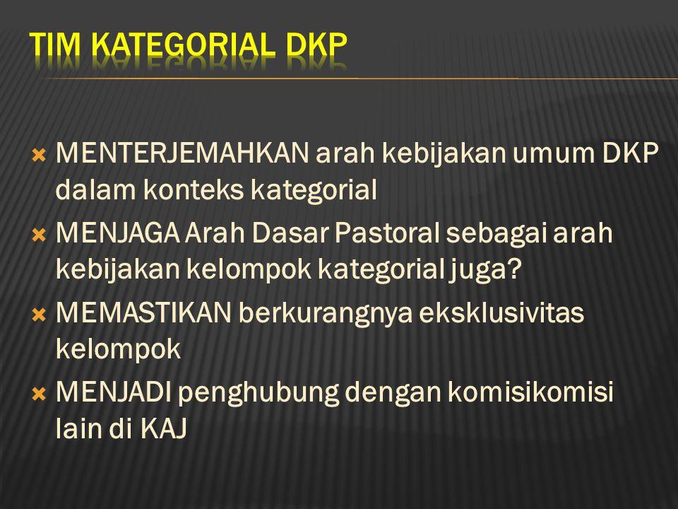 TIM KATEGORIAL DKP MENTERJEMAHKAN arah kebijakan umum DKP dalam konteks kategorial.