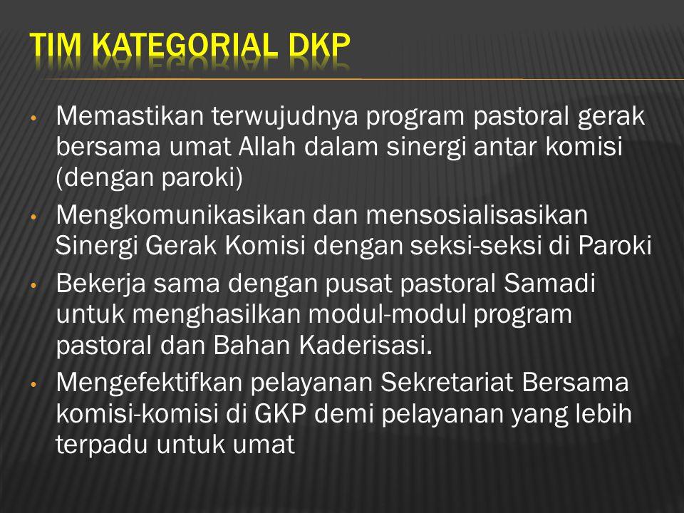 TIM KATEGORIAL DKP Memastikan terwujudnya program pastoral gerak bersama umat Allah dalam sinergi antar komisi (dengan paroki)