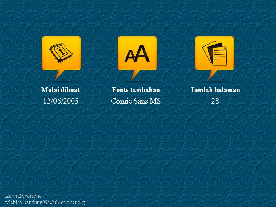 12/06/2005 Comic Sans MS 28 Mulai dibuat Fonts tambahan Jumlah halaman