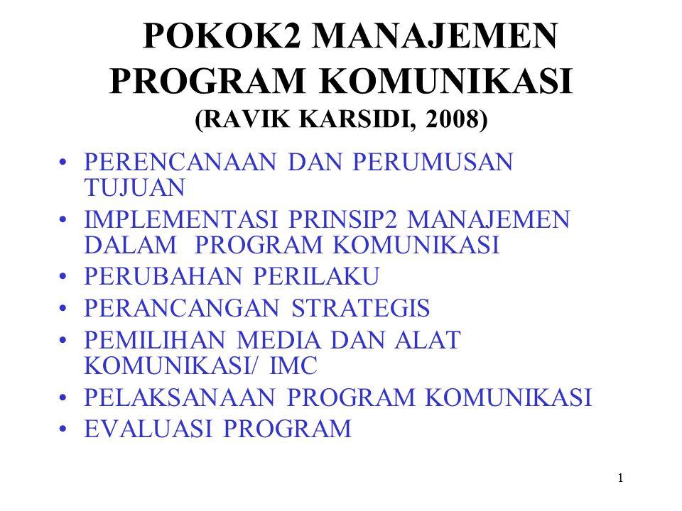 POKOK2 MANAJEMEN PROGRAM KOMUNIKASI (RAVIK KARSIDI, 2008)