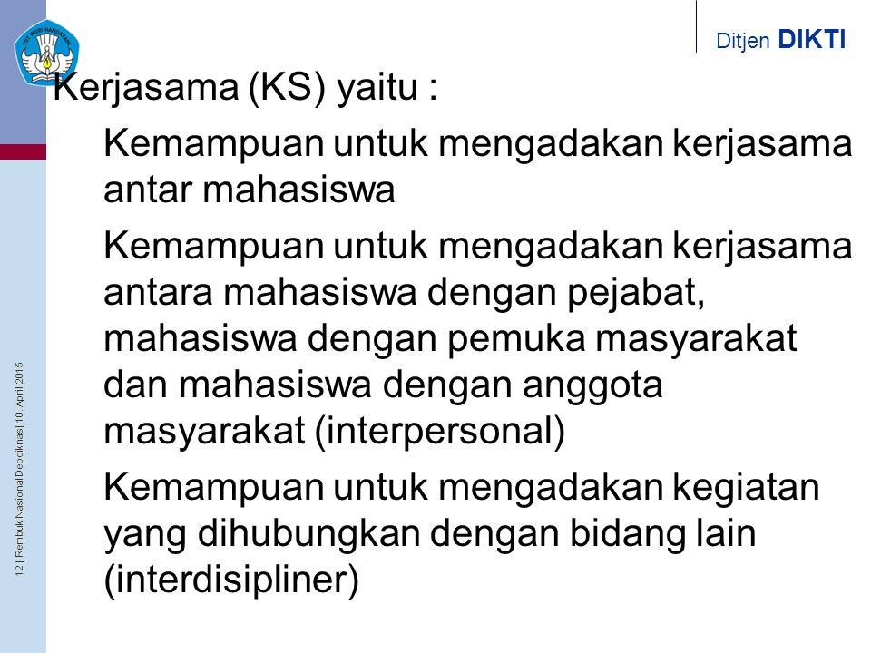 Kerjasama (KS) yaitu : Kemampuan untuk mengadakan kerjasama antar mahasiswa.