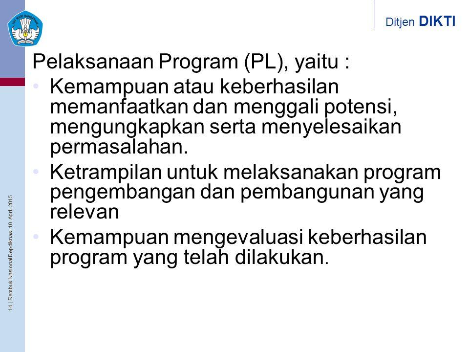 Pelaksanaan Program (PL), yaitu :