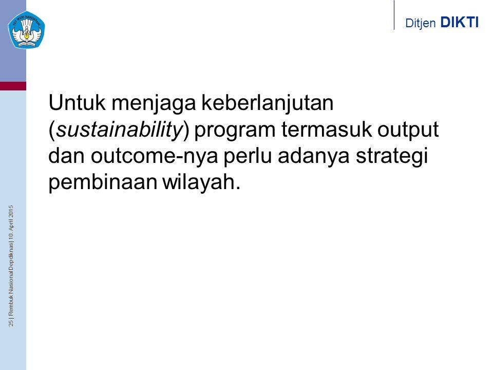 Untuk menjaga keberlanjutan (sustainability) program termasuk output dan outcome-nya perlu adanya strategi pembinaan wilayah.