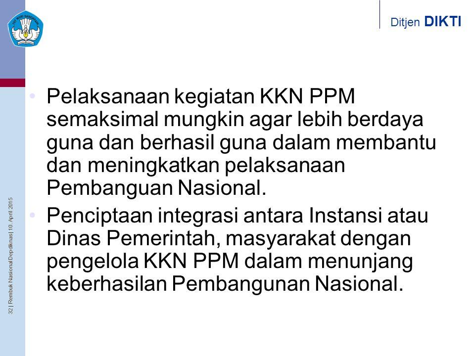 Pelaksanaan kegiatan KKN PPM semaksimal mungkin agar lebih berdaya guna dan berhasil guna dalam membantu dan meningkatkan pelaksanaan Pembanguan Nasional.