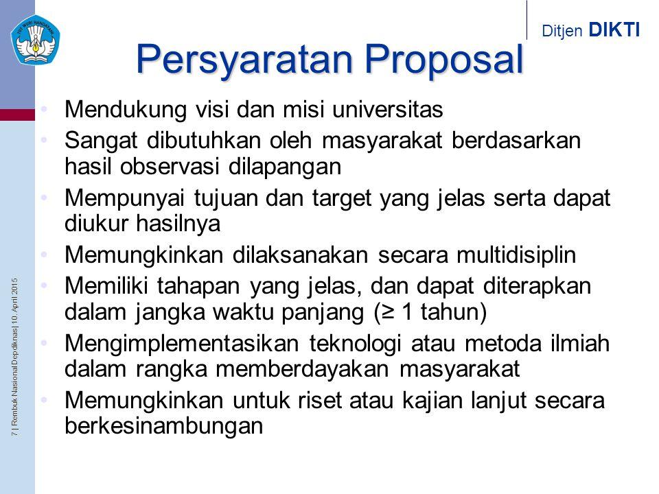 Persyaratan Proposal Mendukung visi dan misi universitas