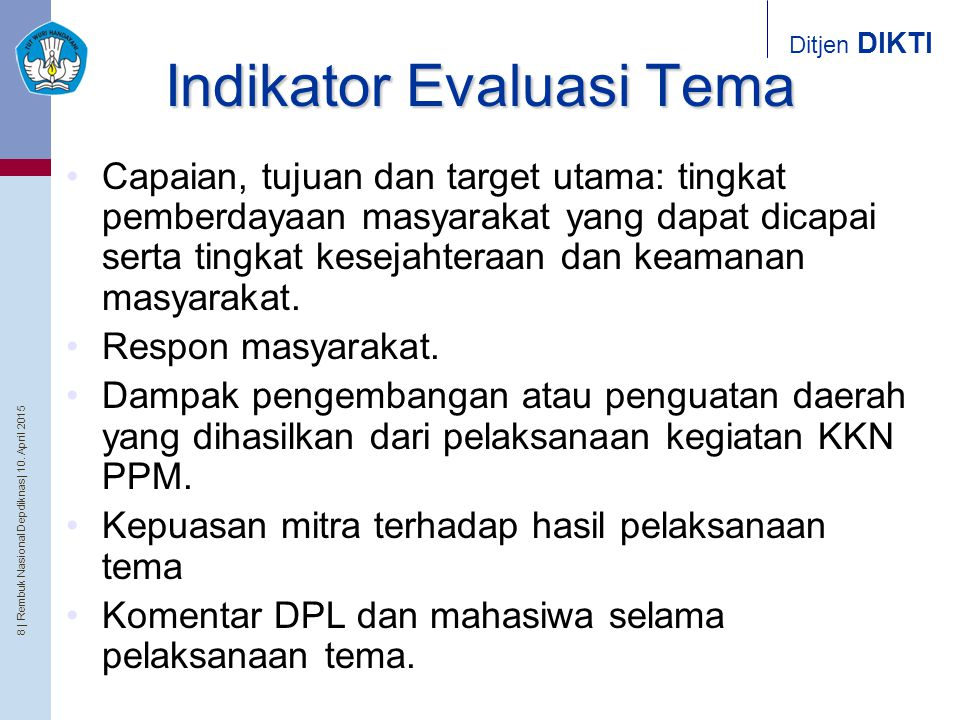 Indikator Evaluasi Tema