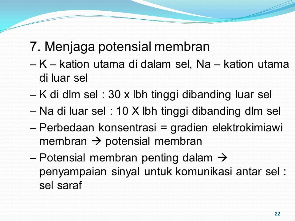 7. Menjaga potensial membran