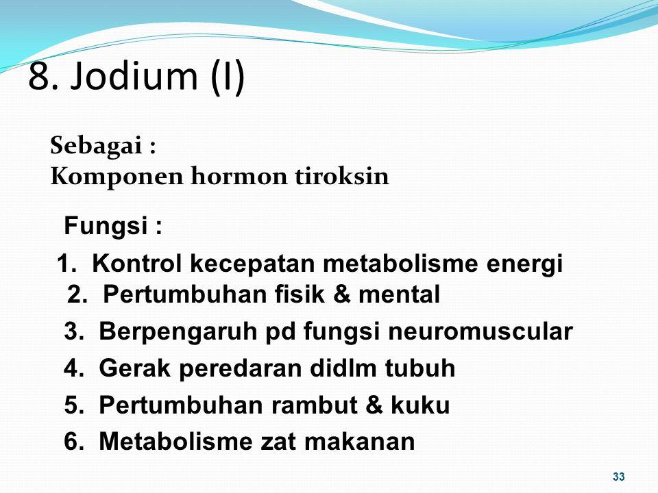 8. Jodium (I) Fungsi : Sebagai : Komponen hormon tiroksin