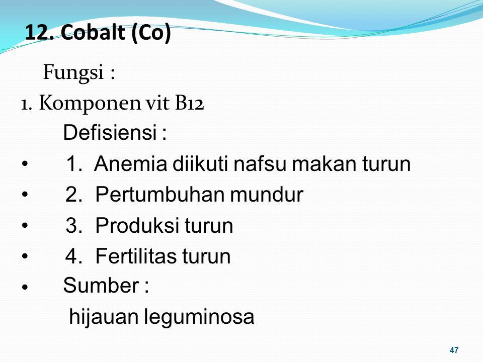 12. Cobalt (Co) Fungsi : 1. Komponen vit B12 Defisiensi :