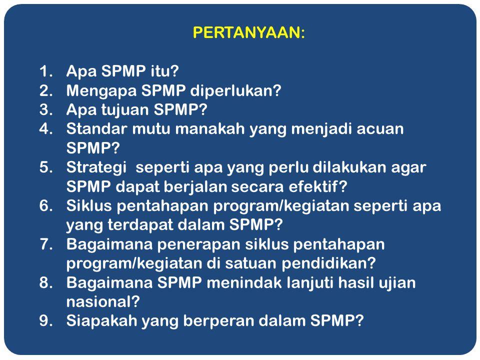 PERTANYAAN: Apa SPMP itu Mengapa SPMP diperlukan Apa tujuan SPMP Standar mutu manakah yang menjadi acuan SPMP