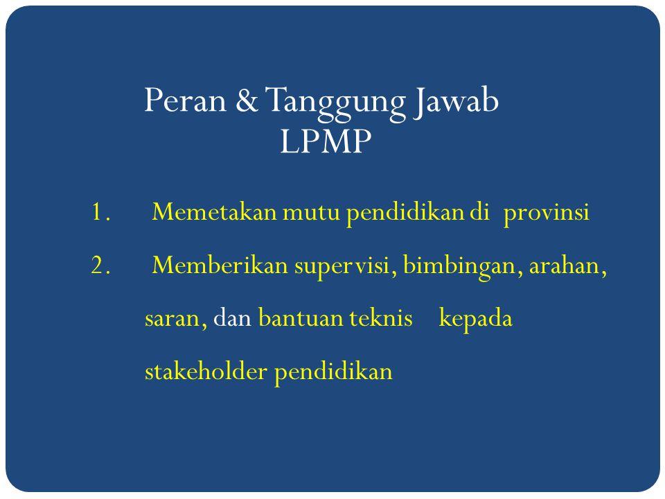 Peran & Tanggung Jawab LPMP Memetakan mutu pendidikan di provinsi