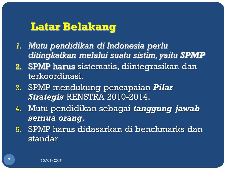 Latar Belakang Mutu pendidikan di Indonesia perlu ditingkatkan melalui suatu sistim, yaitu SPMP.