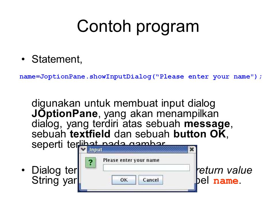 Contoh program Statement,