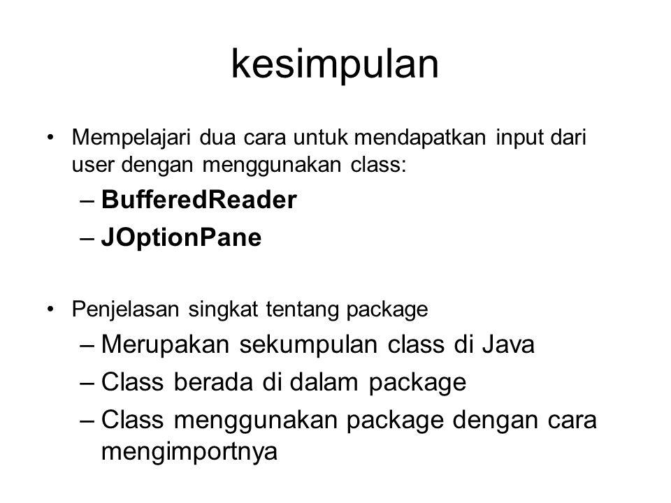 kesimpulan BufferedReader JOptionPane